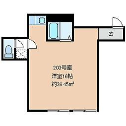 新村ビル 2階ワンルームの間取り