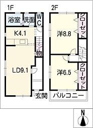[タウンハウス] 愛知県豊橋市平川本町1丁目 の賃貸【/】の間取り