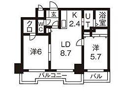 北海道札幌市中央区北一条西28丁目の賃貸マンションの間取り