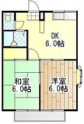 神奈川県海老名市中新田1の賃貸アパートの間取り
