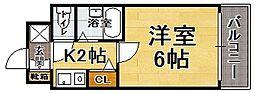 福岡県福岡市中央区地行1丁目の賃貸マンションの間取り
