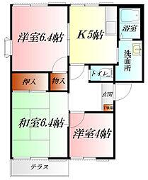 コーポ東B棟[1階]の間取り
