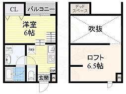 南海線 堺駅 徒歩10分の賃貸アパート 2階ワンルームの間取り