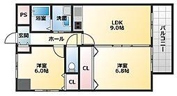 ラ・フォーレ久宝園 5階2LDKの間取り