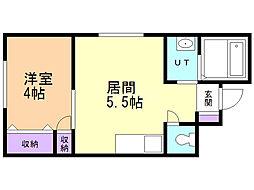 KYOEI B・L・D 2階1DKの間取り