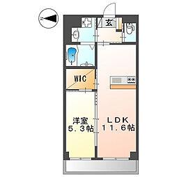 (仮称)菱屋東店舗マンション新築工事 2階1LDKの間取り