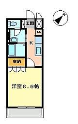 茨城県水戸市住吉町の賃貸アパートの間取り