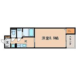 JR東海道本線 静岡駅 徒歩17分の賃貸マンション 2階1Kの間取り