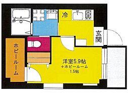b'CASA Yokohama Higashi[4階]の間取り