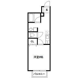 仙台市営南北線 富沢駅 徒歩8分の賃貸アパート 1階1Kの間取り