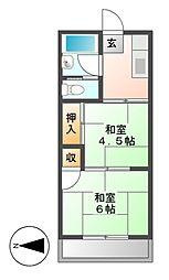 愛知県名古屋市千種区下方町6丁目の賃貸アパートの間取り