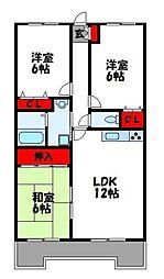 JR香椎線 酒殿駅 徒歩27分の賃貸マンション 2階3LDKの間取り