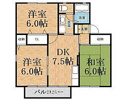 千葉県市原市ちはら台東2丁目の賃貸アパートの間取り