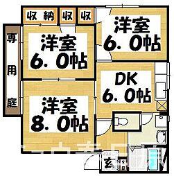 福岡県大野城市曙町1丁目の賃貸アパートの間取り