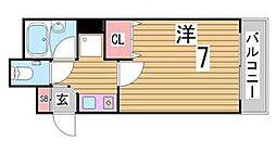 兵庫県神戸市中央区磯辺通4丁目の賃貸マンションの間取り