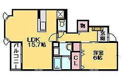 アベンシスパークC[1階]の間取り