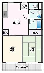 アパートメントNINE 3階2LDKの間取り