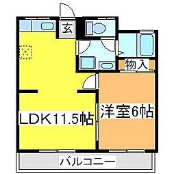 広島県東広島市西条東北町の賃貸アパートの間取り