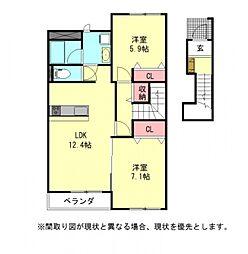 愛知県一宮市西萩原字大池の賃貸アパートの間取り