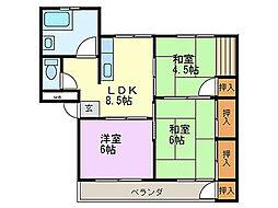 福岡県北九州市若松区小石本村町の賃貸マンションの間取り