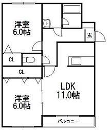 北海道札幌市西区発寒十四条2丁目の賃貸マンションの間取り