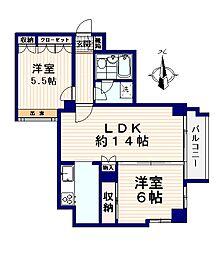 クリスタルコート 88[4階]の間取り
