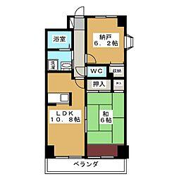 ロザーンジュ堀川[4階]の間取り