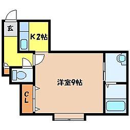 札幌市営東豊線 北13条東駅 徒歩6分の賃貸アパート 3階1Kの間取り