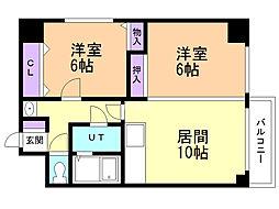 菊水サカイマンション 5階2LDKの間取り