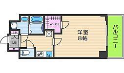 レジデンス大阪城東アペリオ 8階1Kの間取り
