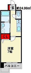 Bergamotto片野駅前 6階1Kの間取り