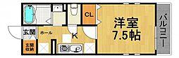 ハウスサフラン 2階1Kの間取り