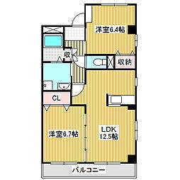 愛知県名古屋市中川区戸田5丁目の賃貸マンションの間取り