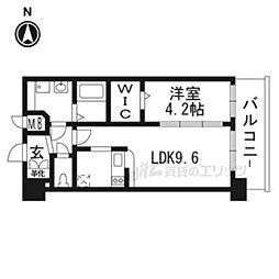 プレサンスTHE KYOTO華苑404 4階1DKの間取り