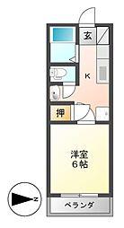 ツチヤマンション 3階1Kの間取り