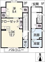 ハイム永覚 2階1LDKの間取り