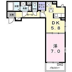 つくばエクスプレス 柏の葉キャンパス駅 徒歩30分の賃貸アパート 1階1DKの間取り
