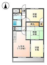 愛知県名古屋市北区浪打町2の賃貸マンションの間取り