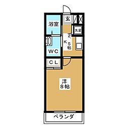 東急東横線 祐天寺駅 徒歩3分の賃貸マンション 1階1Kの間取り