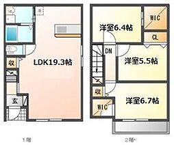 [テラスハウス] 愛知県名古屋市名東区新宿2丁目 の賃貸【/】の間取り