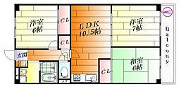 千里一条スカイハイツC棟[209号室]の間取り