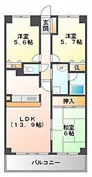 ル・アン緑地[5階]の間取り