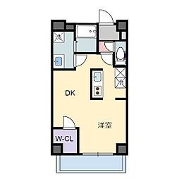ティンクホームII 3階1DKの間取り