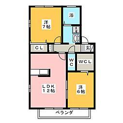 セジュール香 A[1階]の間取り