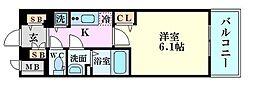 ララプレイス梅田西イルミナーレ 10階1Kの間取り