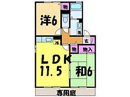 愛媛県松山市衣山1丁目の賃貸アパートの間取り