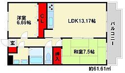 福岡県春日市下白水南5丁目の賃貸マンションの間取り