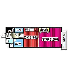 JR仙山線 北仙台駅 徒歩6分の賃貸マンション 14階1DKの間取り