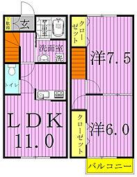 [テラスハウス] 千葉県野田市柳沢 の賃貸【/】の間取り