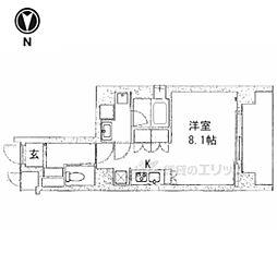 京都市営烏丸線 五条駅 徒歩13分の賃貸マンション 3階1Kの間取り